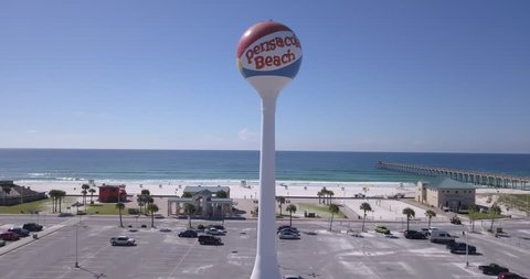 PENSACOLA BEACH, FLORIDA - SEPTEMBER 12, 2018: The iconic Pensacola Beach Ball located mere steps from the sugar-white sands of Pensacola Beach.