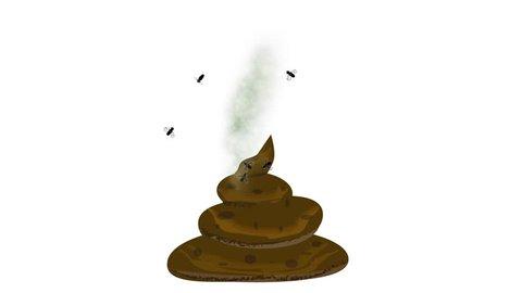 flies fly over feces,feces exude stench,Flies, poop, poop with flies, brown poop