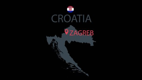 Croatia countrie map animation. Cartoon countrie map icon animation.