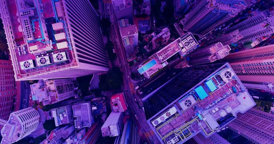 Retrofuturistic cityscape seamless background. | Shutterstock HD Video #1025513432
