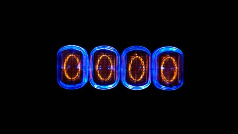 the consecutive appearance of numbers from 9 to 0 on the numerical counter, on the gas discharge indicator, Nixie tube