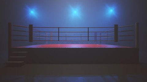 Animation with metal vintage microphone above the boxing ring. A professional audio communication instrument is slowly pulling down on the empty stage. Camera bright flashlights are flashing.