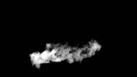 VFX pipe smoke on black overlay for compositing. 4K RED
