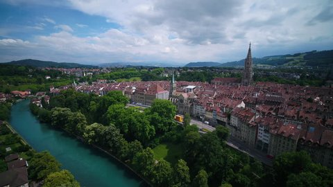 Aerial Switzerland Bern June 2018 Sunny Day 15mm Wide Angle 4K Inspire 2 Prores  Aerial video of downtown Bern in Switzerland on a beautiful sunny day with a wide angle lens.