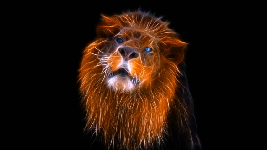 Fractal lion, Lion Roaring, lion attacks, lion's green, 4K, 3840x2160 high quality video, lion's eyes, lion close up
