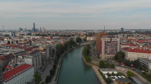 Aerial Austria Vienna June 2018 Sunny Day  Aerial Video of Vienna Austria city center on a sunny day.