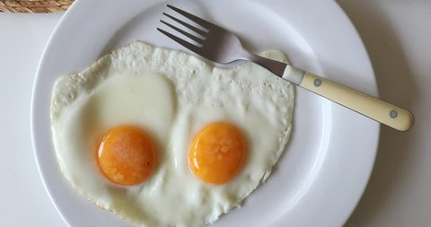 Two fried eggs on plate