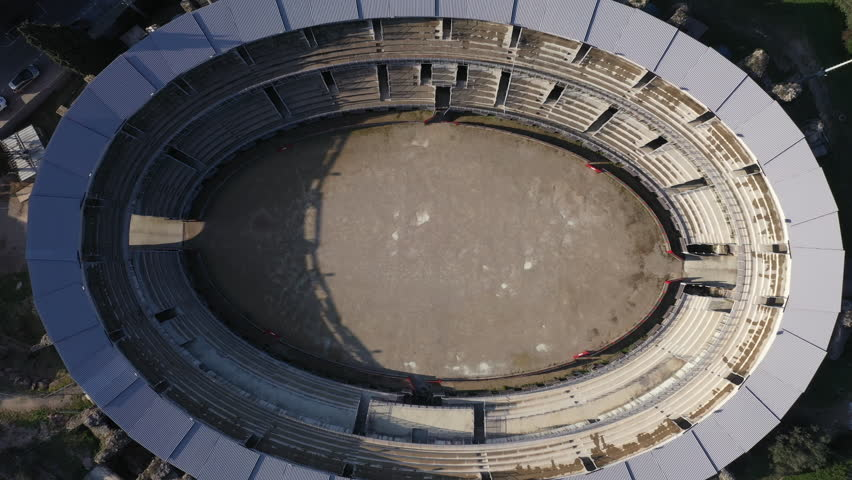 Aerial view of Ruin of a Roman arena in Frejus, southern France | Shutterstock HD Video #1025680892