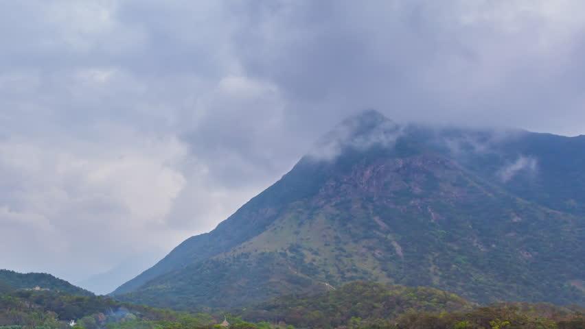 Misty over high mountain at Ngong Ping village, Hong Kong | Shutterstock HD Video #1025686172