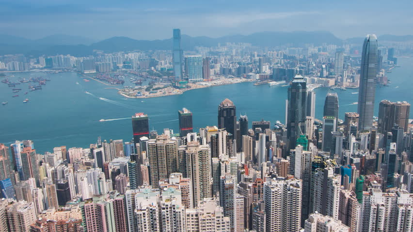 TL Hong Kong City skyline day time view from Victoria Peak., Panning Right, Panning, Time-Lapse. | Shutterstock HD Video #1025732972