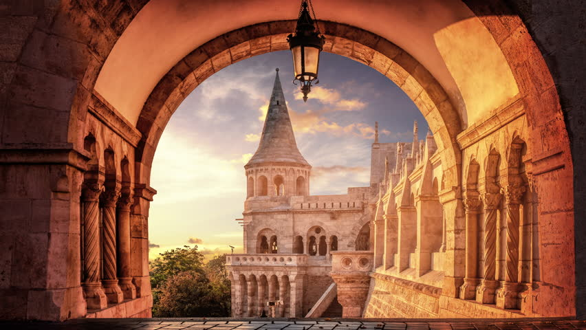 Time lapse of the sunrise viewed through the arches of the Fisherman's Bastion in Budapest, Hungary. | Shutterstock HD Video #1025737862