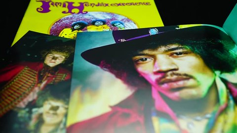 Rome, Italy - March 11, 2019: Collection of covers and cd inserts of the American rock guitarist Jimi Hendrix. Debut studio album by English-American rock band the Jimi Hendrix Experience