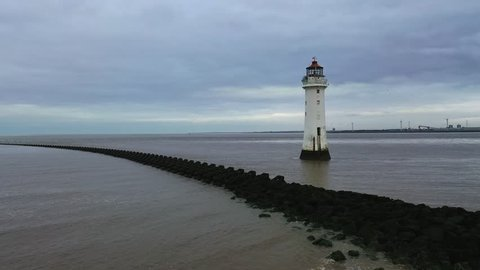 New Brighton lighthouse. Perch rock lighthouse built in the liverpool bay, the Wirral, UK