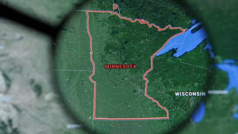 MIAMI BEACH. FLORIDA. USA - MARCH 2019: USA, Minnesota on the political map. The borders of Minnesota. Minnesota State under a magnifying glass. Geography of Minnesota in the USA