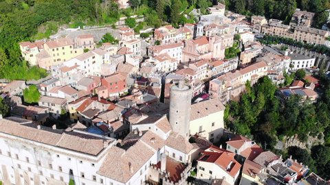 One of the most favorite tourist destinations in Roma, Lazio, Italy. Aerial view of antique village Nemi in the mountains of Italy.