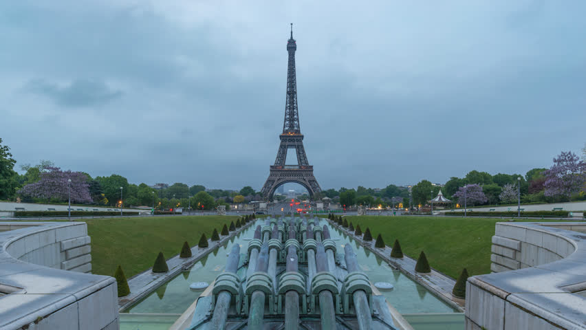 Paris France time lapse 4K, city skyline timelapse at Seine River and Eiffel Tower at Trocadero Gardens   Shutterstock HD Video #1025838542
