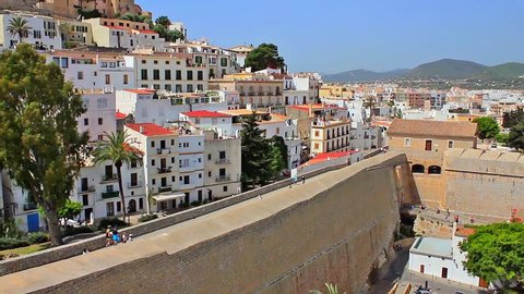 view of the old Ibiza /walk on the walls of the bulwark of Santa Lucia that surrounds the old Ibiza