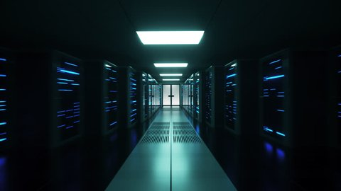 Data and network servers with blue lights behind glass panels fly into a server room as the camera shakes. Fast backward dolly shot, 4K High Quality Animation