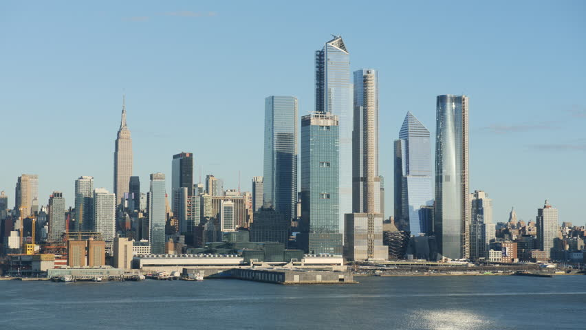 The mixed-use Hudson Yards real estate development and other buildings on the West Side of Manhattan in New York City. | Shutterstock HD Video #1025889512