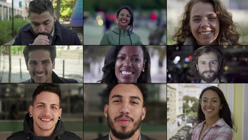 Collage of people of different races looking at camera, smiling. Lifestyle concept | Shutterstock HD Video #1025904782