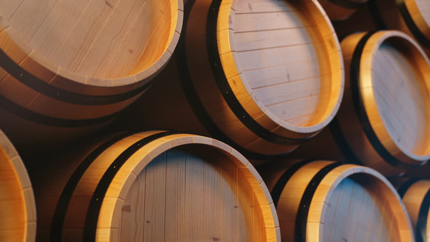 Wine or Whiskey in vaults. Barrel in the basement. Wine, beer, Whiskey barrels stacked at the warehouse. Looped animation. 3D animation | Shutterstock HD Video #1025935742