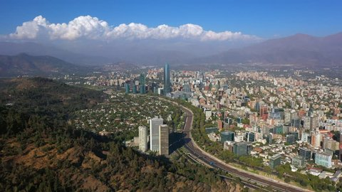 Aerial drone view of city downtown. Skyline Financial District in Providencia Neighborhood, Santiago de Chile