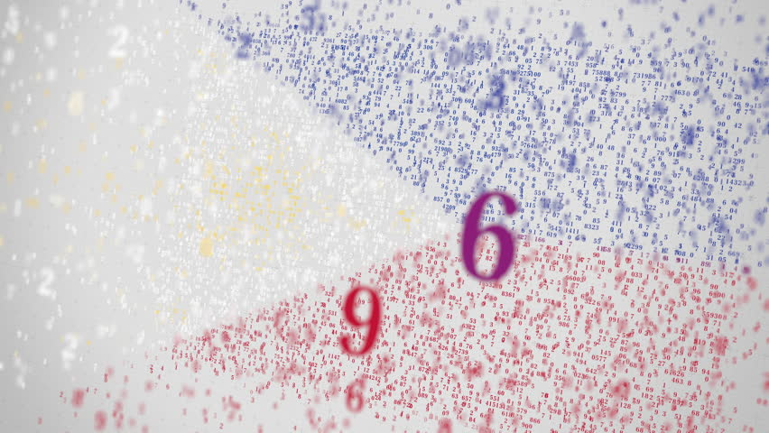 Falling numbers make up flag of PHILIPPINES. National information technology IT related 3D animation | Shutterstock HD Video #1025968952