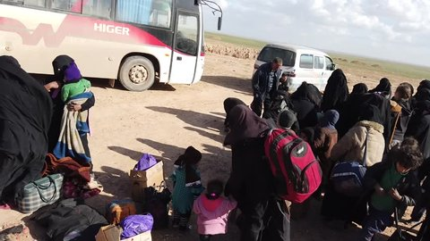 Syria - March 15, 2019: Families fleeing ISIS in the desert 4