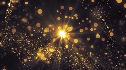 Lights gold bokeh background. Elegant golden abstract. Disco background with circles and stars. Christmas Animated background. Space background. Seamless loop.