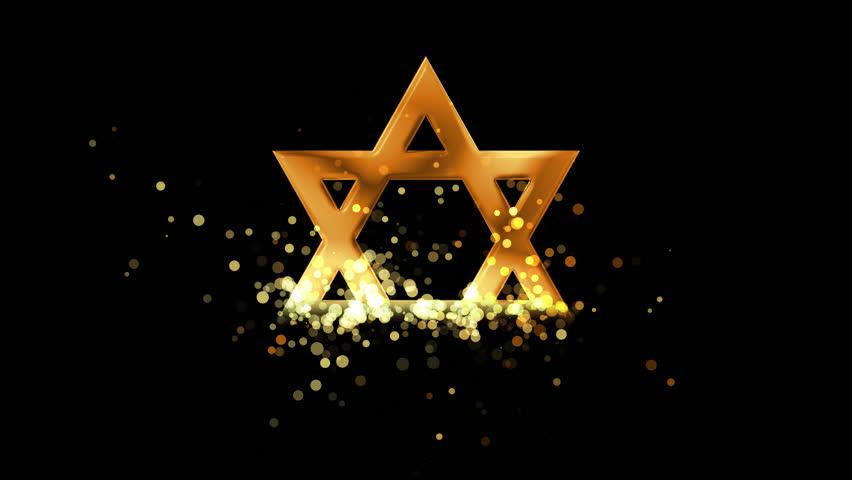 Golden David Star, judaism religious symbol on… - Royalty