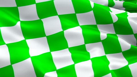 Checkered flag video waving in wind. Isolated Waving Checkered Flag. Chequered Flag Looping Closeup 1080p Full HD 1920X1080 footage. Checkered Green white Start Finish Win Race flags footage video USA Jan 2019