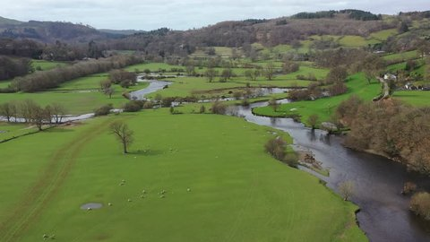 Meandering river in a welsh valley