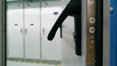Door handle with lock close-up. Modular power station.