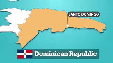 Dominican map with flag