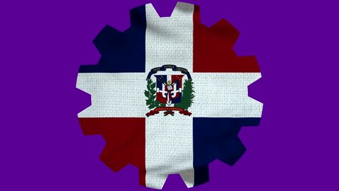 Dominican Republic Gear Flag Loop - Realistic 3D Illustration 4K - 60 fps flag of the Dominican Republic- waving in the wind. Seamless loop with highly detailed fabric texture.