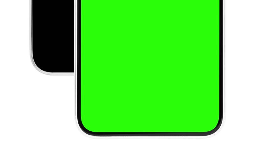 Footage of unknown modern black smart phone device with green chroma key screen to place application logo and text.Close up video of trendy no name mobile phones isolated on white background | Shutterstock HD Video #1026193442