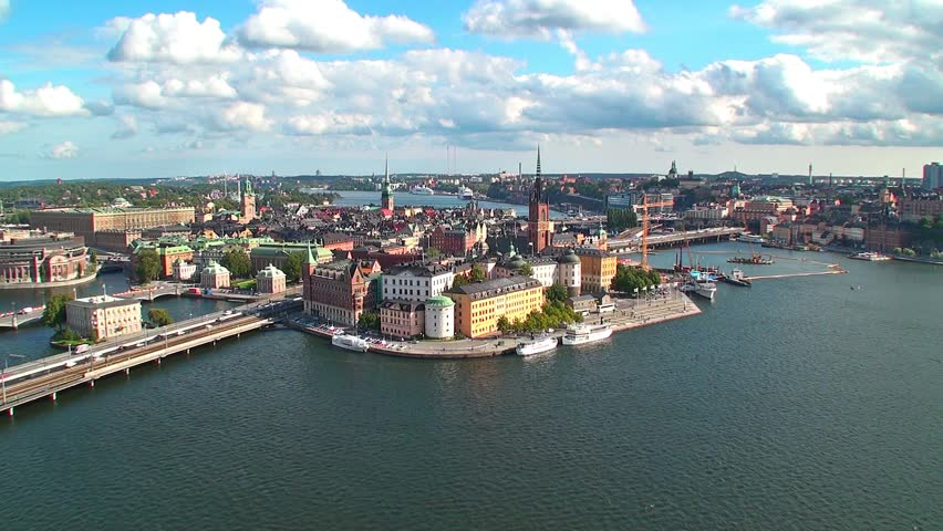 Zoom aerial panorama of Stockholm, Sweden | Shutterstock HD Video #1026232
