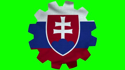 Slovakia Gear Flag Loop - Realistic 3D Illustration 4K - 60 fps flag of the Slovakia - waving in the wind. Seamless loop with highly detailed fabric texture. Loop ready in 4k resolution