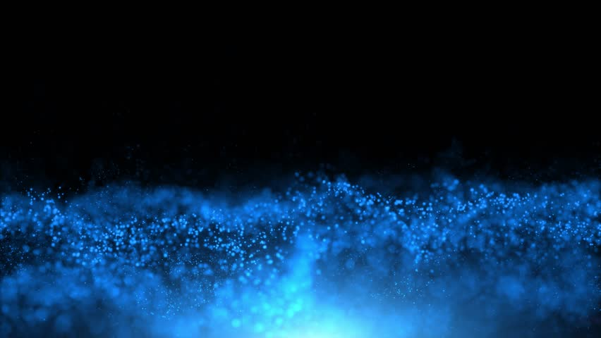 Abstract shine blue colored particles flowing on black copy space background. | Shutterstock HD Video #1026400472