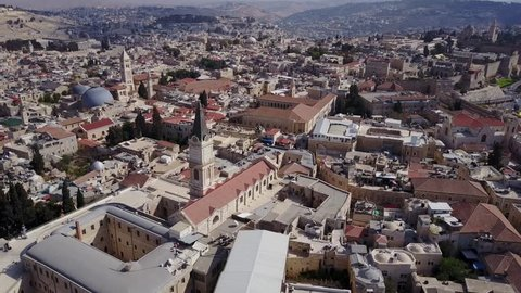 Bird's view of the Christian Quarter, between the New Gate and Jaffa Gate. Jerusalem.