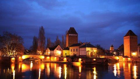 Time Lapse Strasbourg with Covered Bridges Iconic France Landmark Dusk to Night