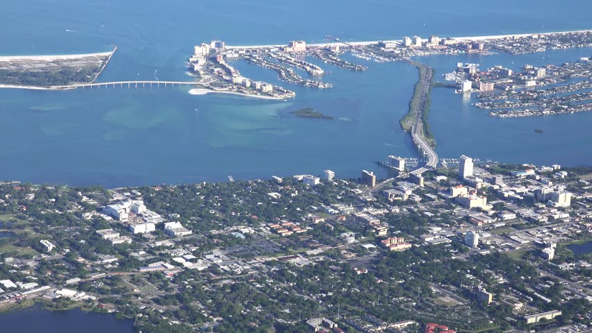Clearwater aerial looking west. Clearwater is a city located in Pinellas County, Florida, United States, nearly due west of Tampa and northwest of St. Petersburg.
