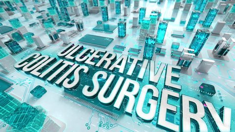 Ulcerative colitis surgery with medical digital technology concept