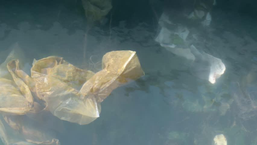 Environmental problem of plastic rubbish pollution in ocean   Shutterstock HD Video #1026617132