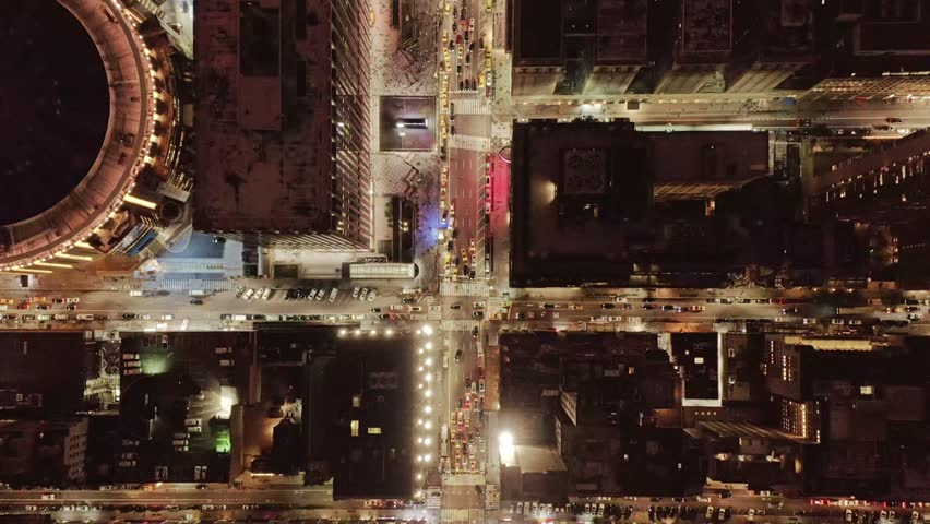 Aerial view of Manhattan traffic at night 4K | Shutterstock HD Video #1026667892