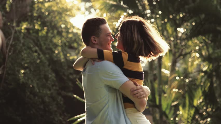 Young couple romantic scene in park  #1026717812