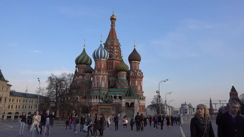 Russia, Moscow 12.04.18. Red square, the monument to Minin and Pozharsky, St. Basil's Cathedral, walking people.