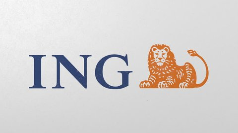 Breaking wall with painted logo of ING. Crisis conceptual editorial 3D animation