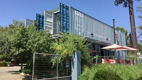 Johannesburg, South Africa, 27th March - 2019: Exterior of coffee shop made from shipping containers.
