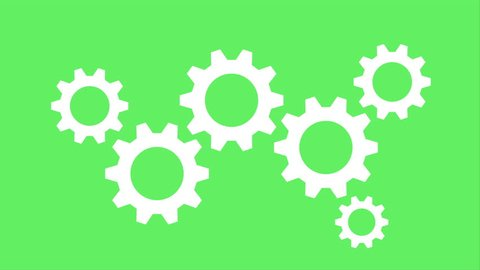 White Gear Wheel Engine Icon Business Concept Ideafrom Gears Cooperation Teamwork LOOP on Green Screen Background